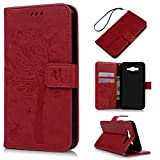 J7 Case,Samsung Galaxy J7 Case (2015 Version) - Wallet Embossed Butterflies Tree Premuim PU Leather Soft TPU Inner Cover with Wrist String & Magnetic Clip & ID/Credit Card Holders by Badalink - Red (Color: Red)