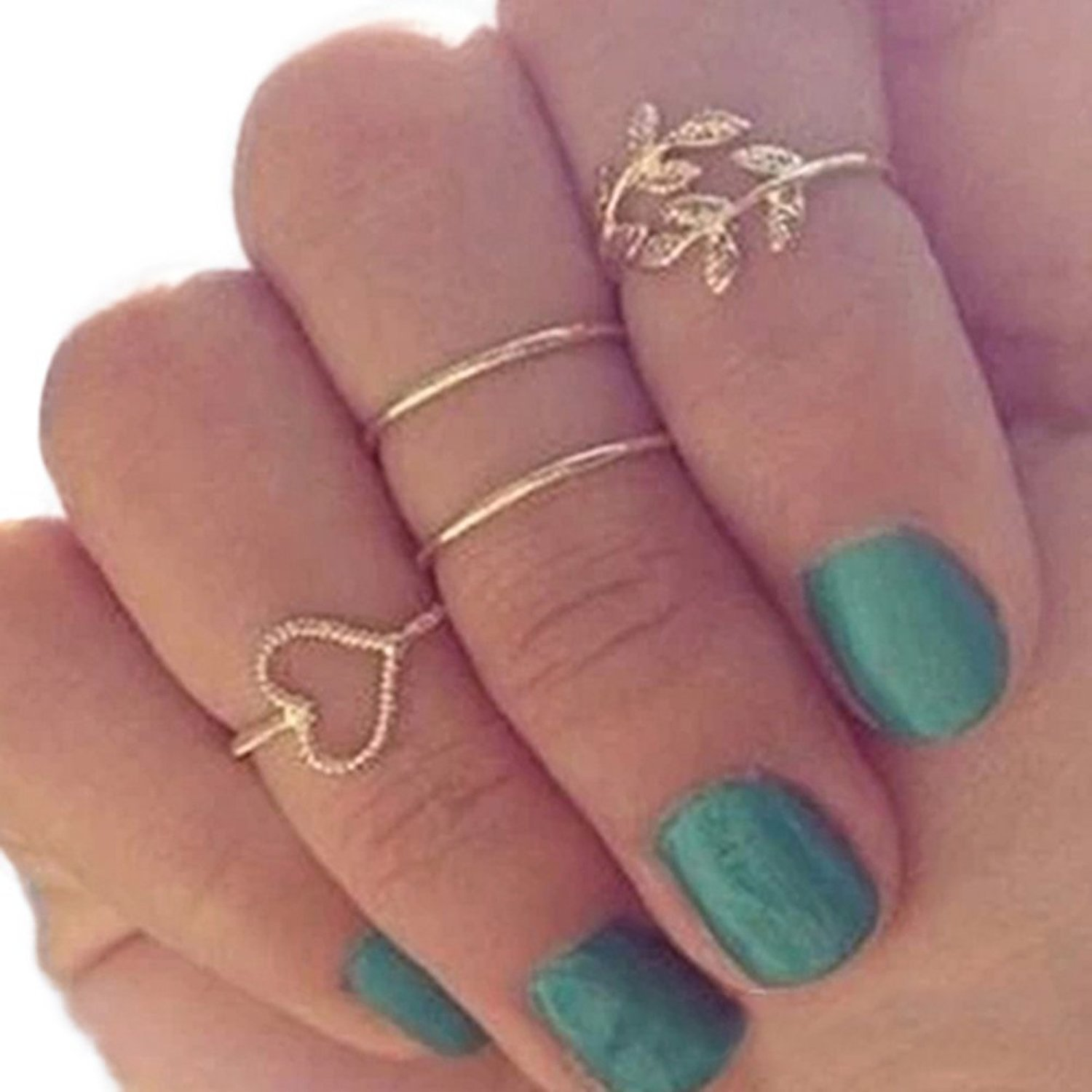 Gold Plated Crystal Plain Cute Above Knuckle Ring Band Midi Ring Rings