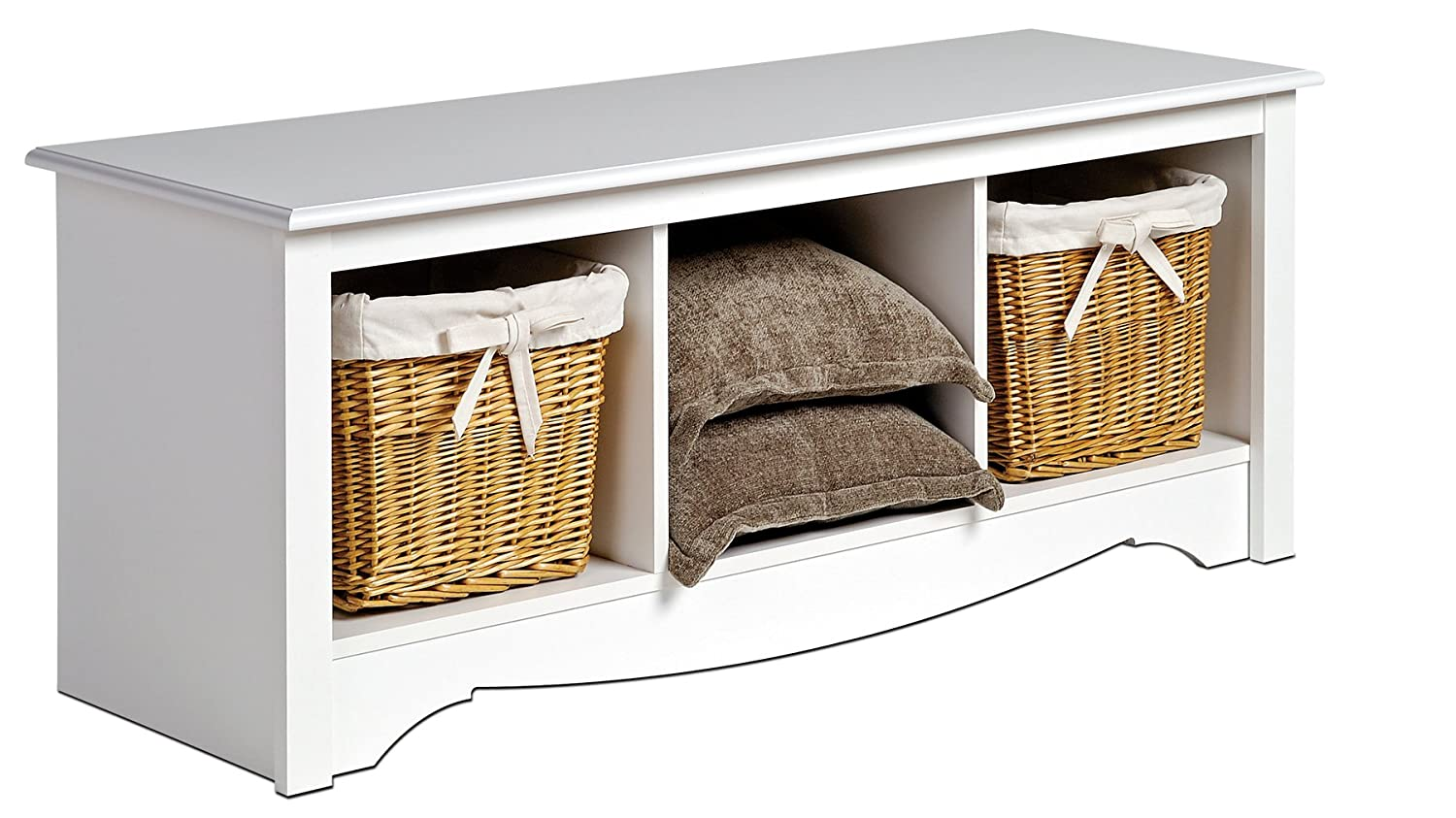 White bedroom storage bench prepac white cubbie storage benc.