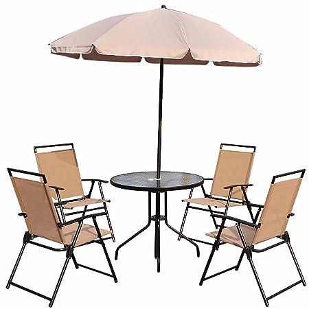 Outsunny 01-0821 Gartentischset/Bistrotisch mit Stuhlen, Sonnenschirm, 4-Personen, rund, beige