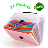 HJSMing 24 Pockets-Handle Portable File Folders/Expandable Folders/Multicolor Folders/A4 Accordion File Manager/Business Office Student Organizer/Plastic Folder Organizer (Color: 24 Pockets -Handle)
