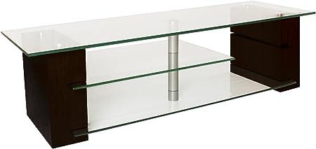PLATEAU BALANCE 59 E Wood and Glass TV Stand, 59-Inch, Espresso Finish