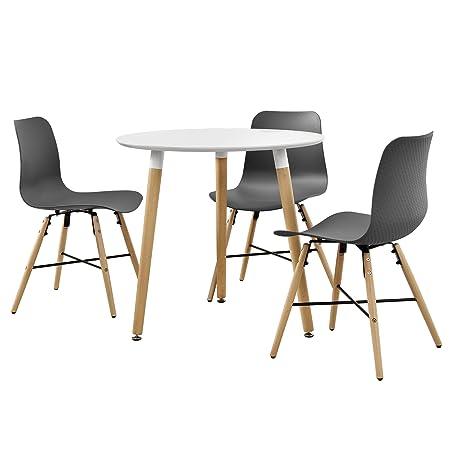 [en.casa] Esstisch in Weiß (rund - ø80cm) mit 3 Design-Stuhlen grau - Sitzgruppe in Retro-Look