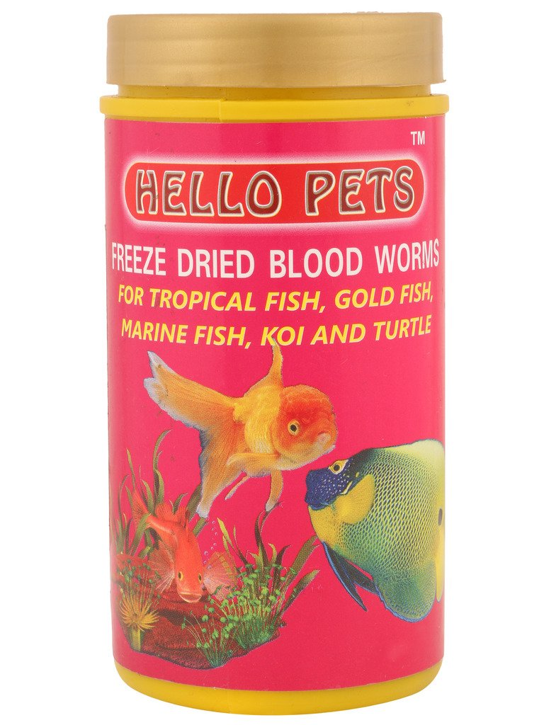 Fish aquarium in nagpur - Hellopets Freeze Dried Blood Worms Fishfood 20 Gms