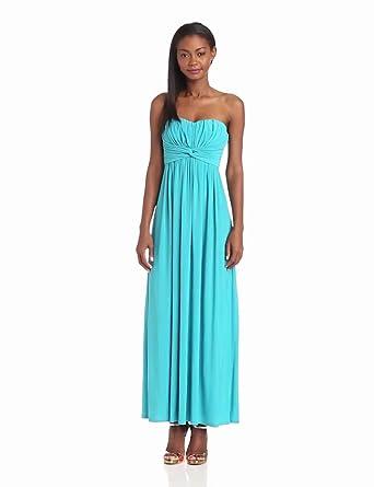 Jessica Simpson Women's Strapless Solid Maxi Dress, Blue, 2