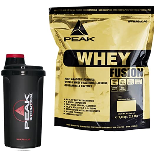 Peak Whey Fusion Vanille 1000g Beutel Protein + Original Peak International Shaker Sparaktion