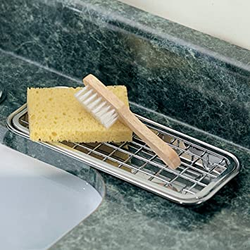 InterDesign SinkWorks Kitchen Countertop Two Tier Scrubber and Soap  Holder