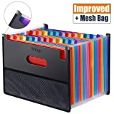 Expanding Accordion File Folder 24 Pockets, Trimagic Filing Box with Unique Mesh Bag Design, Alphabetical Expandable File Organizer for Document Paperwork Tax Bill or Receipt (Color: Accordion Folder With Bag)