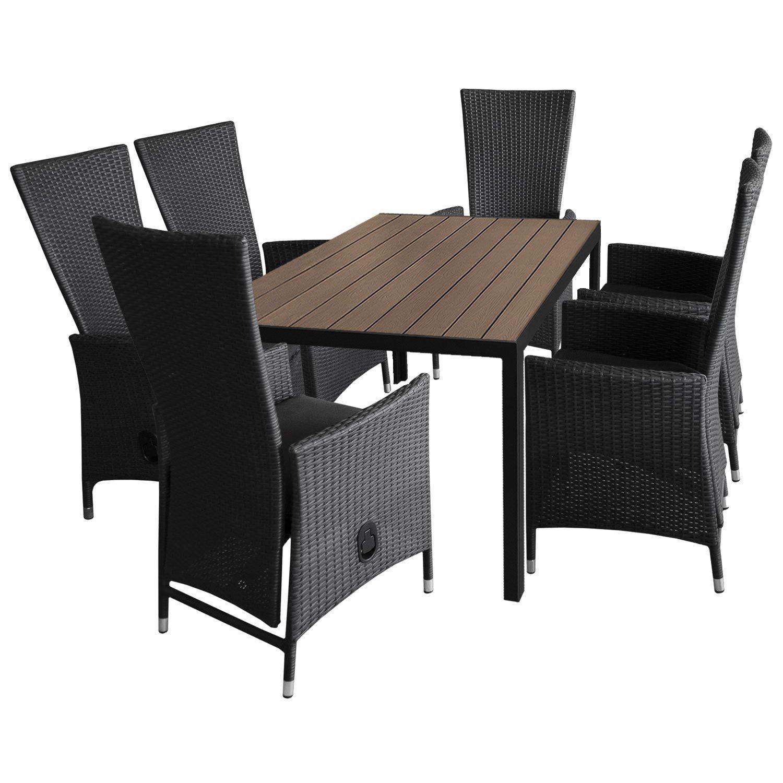7tlg. Gartengarnitur Aluminium Gartentisch 150x90cm mit Polywood Tischplatte stapelbare Polyrattan Sessel inkl. Sitzkissen günstig