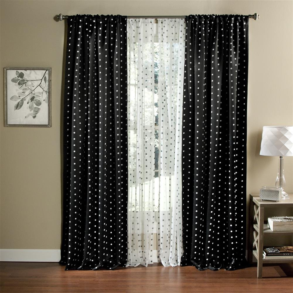 Blackout Window Curtains 2 Panels Poka Dots Thermal Insulated 3 Inch Rod Pocket