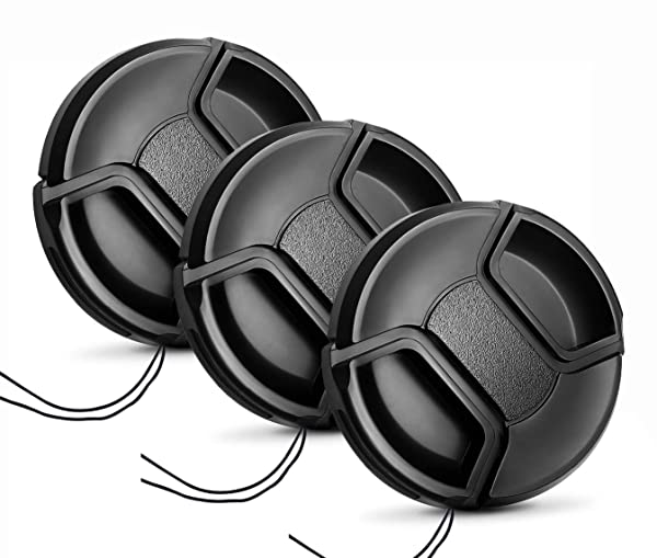 55mm Lens Cap [3 Pack], HonesThing 55mm Camera Lens Protection Cover with 3 Lens Cap Keepers compatible with Canon, Nikon, Sony and any other DSLR Camera (Color: 55mm)