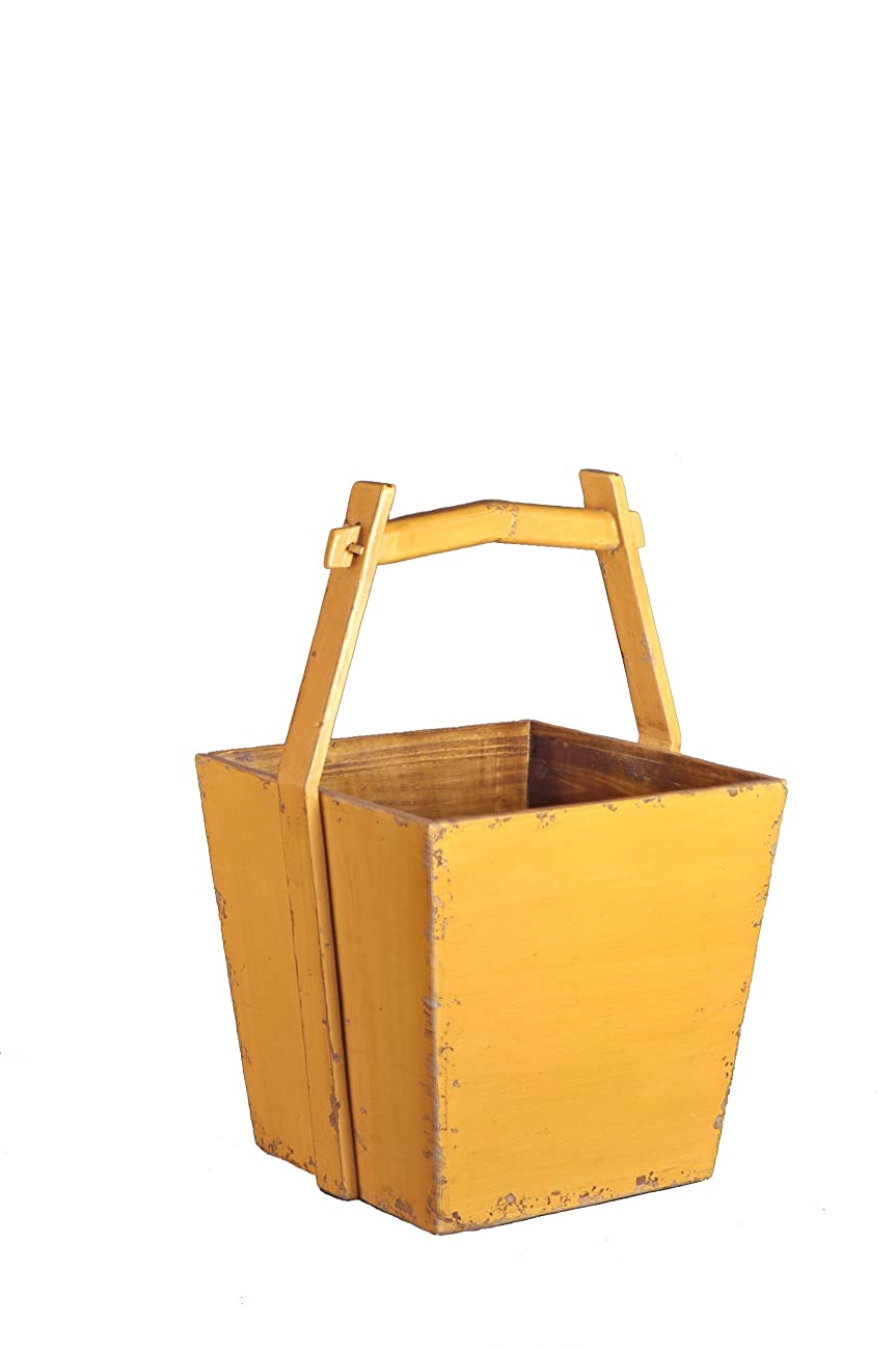 Antique Revival Wooden Water Bucket, Yellow 0