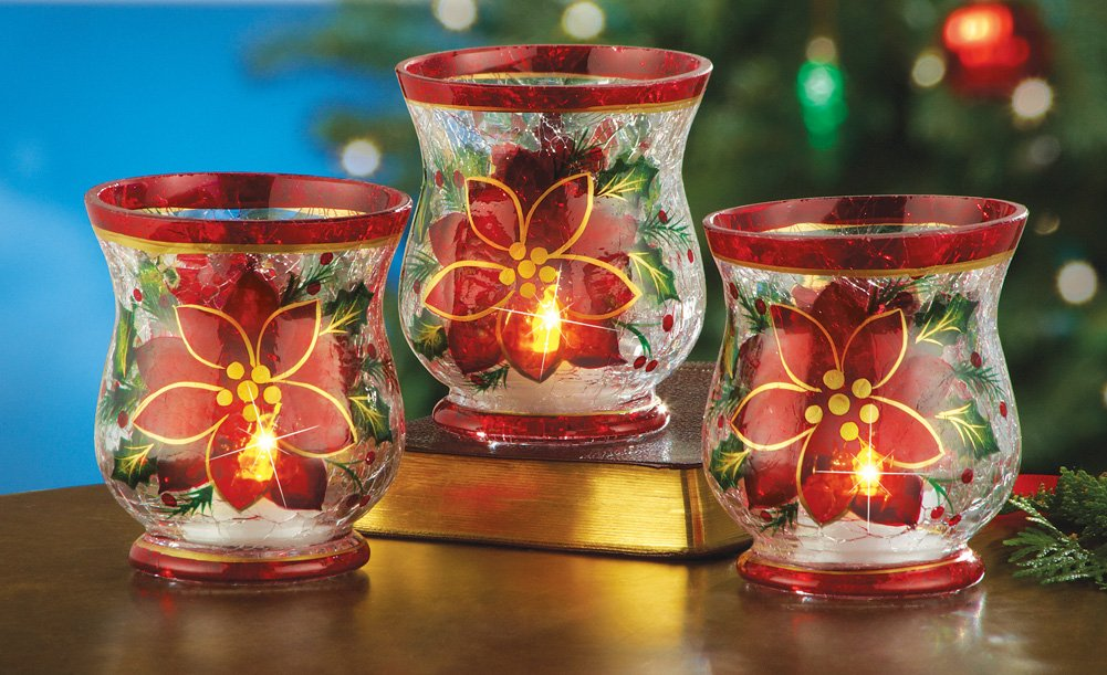 Poinsettia candle holders christmas wikii for Christmas candle displays