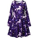 Unicorn Dresses for Girls Long Sleeve 7-16 Gift Starry Sky Kids Casual Cotton (Color: Dream, Tamaño: 12-13Y/ Height: 62