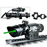 TZWNS Scope Zoomable Green Sight With 20mm 2 Mounts Base Switch Power 532nm Beam Battery Charger Included Dot Sight (Color: Green, Tamaño: 135mm(length) *36mm(height))