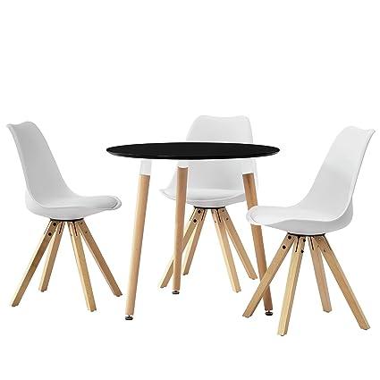 [en.casa] Esstisch rund schwarz [Ø80cm] mit 3 Stuhlen weiß gepolstert Esszimmer Essgruppe Kuche