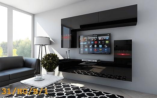 Moderno Conjunto de Salón FUTURE C31, apilable salón-comedor con Iluminación LED. (31/HG/B/1, LED Blanco)