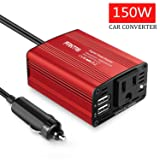 Car Power Inverter Car Charger 150W DC 12V to 110v AC Car Inverter with 3.1A Dual USB Charger (Red) (Red) (Color: Red)