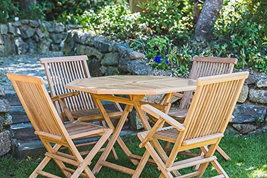 Folding 1m Solid Teak Octagonal Table and Folding Chair Combo Garden Furniture Set