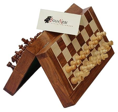 SouvNear 25 x 25 Cm Ultime Voyage en Bois Jeu d'échecs avec des Pièces Magnétiques Staunton et Plateau de jeu Pliable (Dédouble en cas de Stockage) - Fait à la Main dans Palissandre avec Finition de Noyer - Jeux de Soci&
