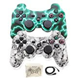 Kolopc Wireless Bluetooth Controller for PS3 Double Shock - Bundled with USB Charge Cord (one Green and White Skull) (Color: one Green and White Skull)