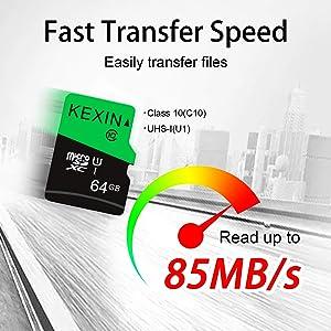 KEXIN 64GB Micro SD Card 64 GB MicroSDXC UHS-I Memory Card Class 10 High Speed Micro SD Cards, C10, U3, 5 Pack 64 GB (Color: C. 5 Pack 64GB, Tamaño: 64 GB x 5)