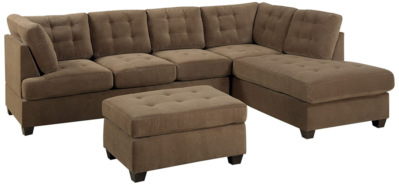 Bobkona Michelson 3-Piece Reversible Sectional with Ottoman Sofa Set, Truffle