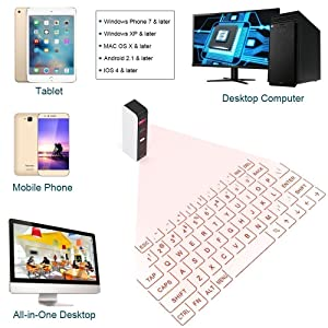 BlueBeach Bluetooth Laser Projector Virtual Keyboard with Mouse Function for Smartphone PC Tablet Laptop