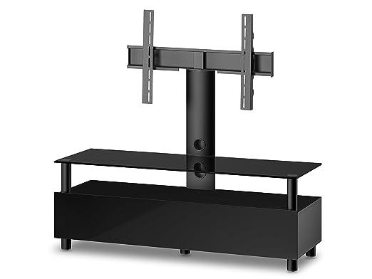 Accord TRN1133 B-BLK Sonorous TV-Möbel fur 60 Zoll Fernseher, Holz, schwarz, 45 x 140 x 45 cm