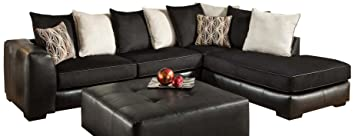 Chelsea Home Furniture Grant 2-Piece Sectional, San Marino Ebony/Martin Ebony/Beach/Peppercorn