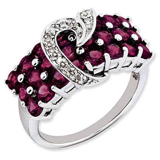 Sterling Silver Rhodolite Garnet & Diamond Ring