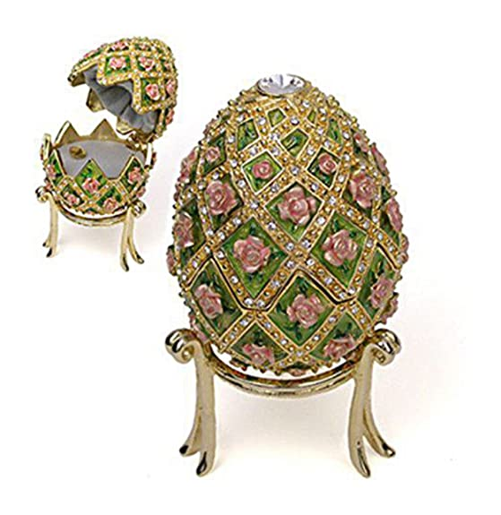 Faberge Egg Rose Trellis Jeweled Museum Reproduction Music Box Plays Swan Lake
