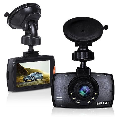 E-PRANCE Caméra de tableau de bord 1080p à 30 images par seconde avec un objectif grand angle de 170 degrés Avec accéléromètre, détection de mouvement, enregistrement en boucle, LED pour la vision de nuit,