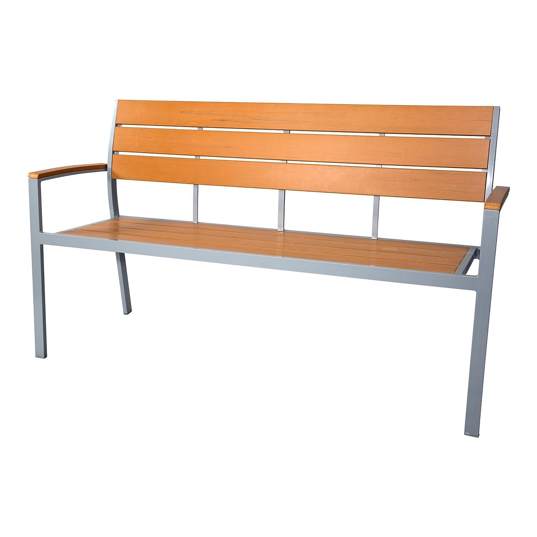 Gartenbank Sitzbank 3er - Bank 150cm teakbraun Polywood Polyholz Holzimitat Alu Aluminium