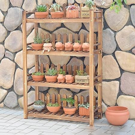 70 * 28 * 110 Cm, vier-stöckige Massivholz Blumenrahmen Boden Holz Blumen Regal Balkon Wohnzimmer Innenraum
