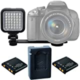 On-Camera LED Video Light Kit for Nikon, Sony, Samsung, Fujifilm, Fuji, Olympus, Panasonic, Pentax Digital SLR Camera and Video Camcorder - Includes V
