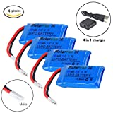 MakerFun 4pcs 1s Lipo Battery 3.7V 380mAh 25c with X4Battery Charger for Hubsan X4 H107D Syma X3 UDI Walkera super-cp/mini-cp MJX F47 QS9016 WLtoys V252/V939 YD 716 Helic 1306 RC Quadcopter Drone Part (Color: With Charger)