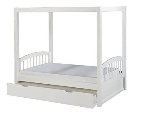 Camaflexi Arch Spindle Style Solid Wood Canopy Bed with Trundle, Twin, White