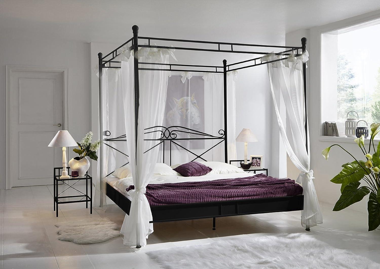 SAM® Design Himmelbett Venezia, schwarzes Metall-Bett, 180 x 200 cm, inklusive Vorhang, nostalgisch verspieltes Design, Blickfang in Ihrem Schlafzimmer