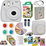 Fujifilm Instax Mini 9 Instant Camera Smokey White + Fuji Instax Film Twin Pack (20PK) + Camera Case + Frames + Photo Album + 4 Color Filters and More Top Accessories Bundle (Color: Smokey White)