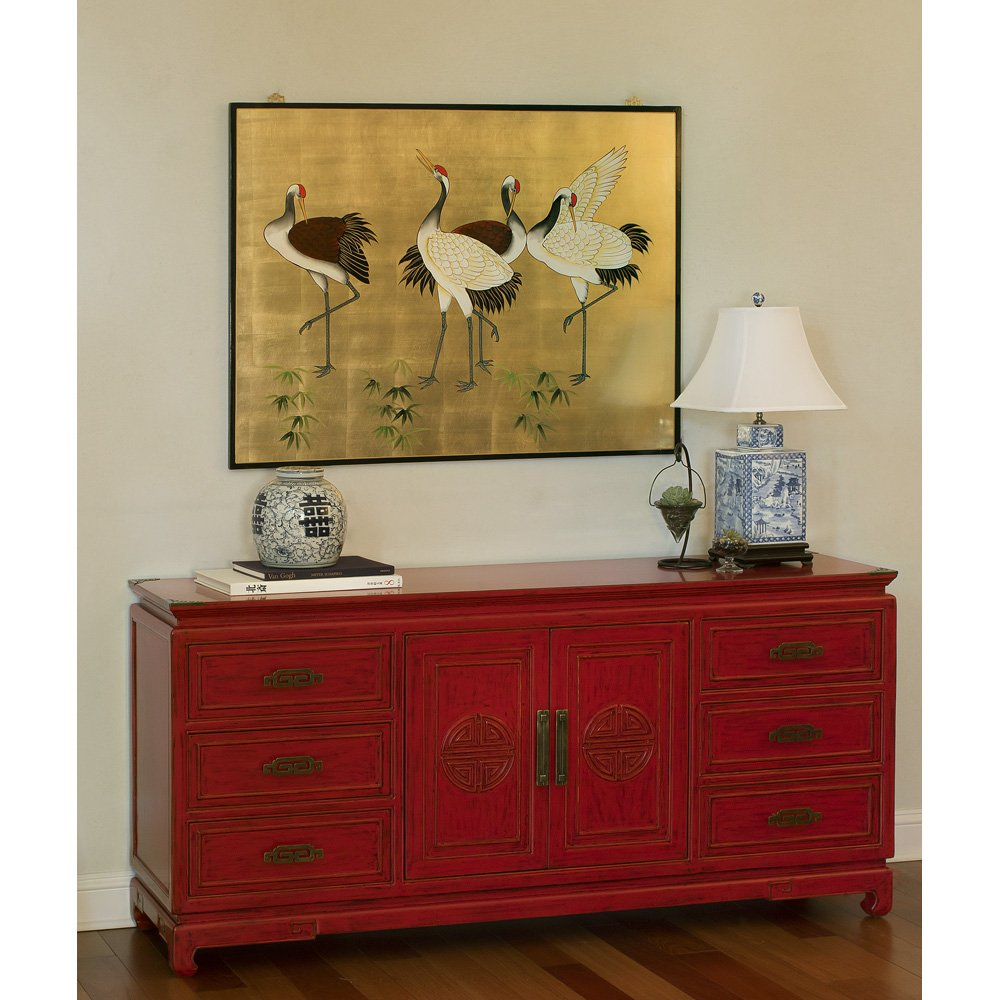 China Furniture Online Elmwood Sideboard, Zen Longevity Design Cabinet Distressed Red Finish 5