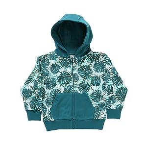 Rockin' Baby Little Boys Green Leaf Print Cotton Hooded Miller Sweatshirt 2T-7
