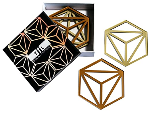 AmazonSmile | Hexa Drink Coasters / Trivet By TiiL. Set of 6 Plus Gift Box (Copper and Ash): Coasters