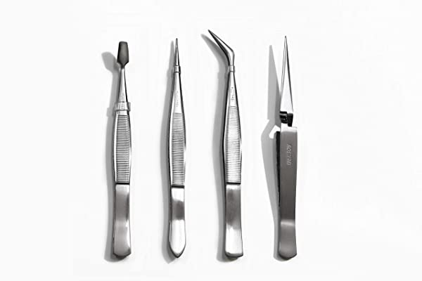Beaditive Professional Stainless-Steel Precision Tweezer Set - Craft Tweezers for Jewelry & Nail Art - 4 Piece High Precision Jewelry Picking Tools -