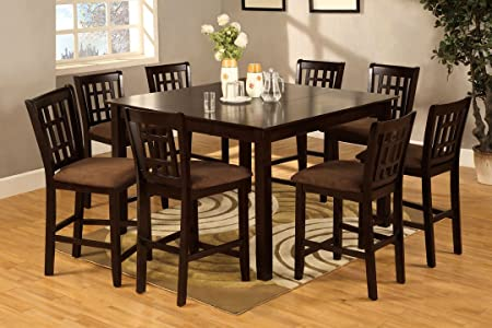 NEW 9 Pieces Eleanor Espresso Wood Counter Height Table with Leaf Set Chairs