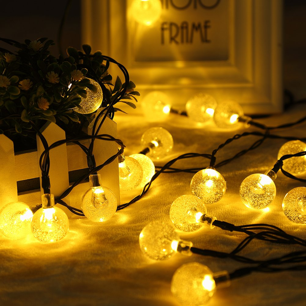 GDEALER Solar String Lights 20ft 30 LED Warm White Crystal Ball Waterproof Outdoor String Lights Solar Powered Globe Fairy String Lights for Garden, Home, Landscape, Christmas Decoration (1)
