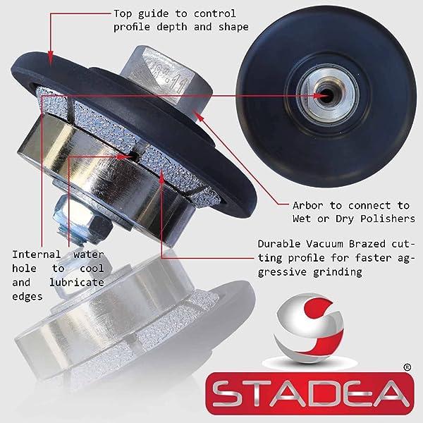 Stadea PWW108K Stone Granite Diamond Profile Wheel - 3/16 For Hand Profiler Marble Bevel E5 Edges Grinding (Color: Arbor 5/8 11, Tamaño: 05MM - 3/16)