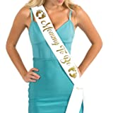Dulcet Downtown White Satin Baby Shower Sash - Mommy To Be - Encased Glitter Lettering (White/Gold) (Color: White / Gold, Tamaño: One Size)