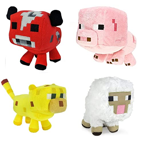 Just Model Minecraft Animal Plush Set of 4: Baby Pig Baby Mooshroom Baby Ocelot Baby Sheep 6-8 Inches 4Pcs Set 6-8 inches