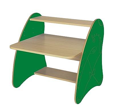 Mobeduc 600912HR21 - Mesa de ordenador infantil/primaria, madera, color haya y verde oscuro, 80 x 75 x 80 cm